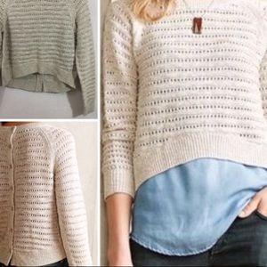 Anthropologie Moth Button Back Crop Sweater